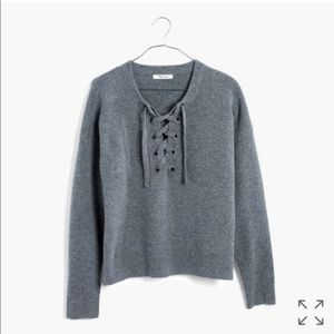 Madewell Lace-up Merino Wool Sweater NWT